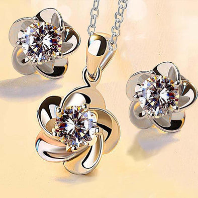 Luxury Zircon Flower Earrings Necklace Jewelry Set - Fashionmoxy