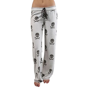 Skull Printed Low Waist Flare Wide Leg Long Pants - Fashionmoxy