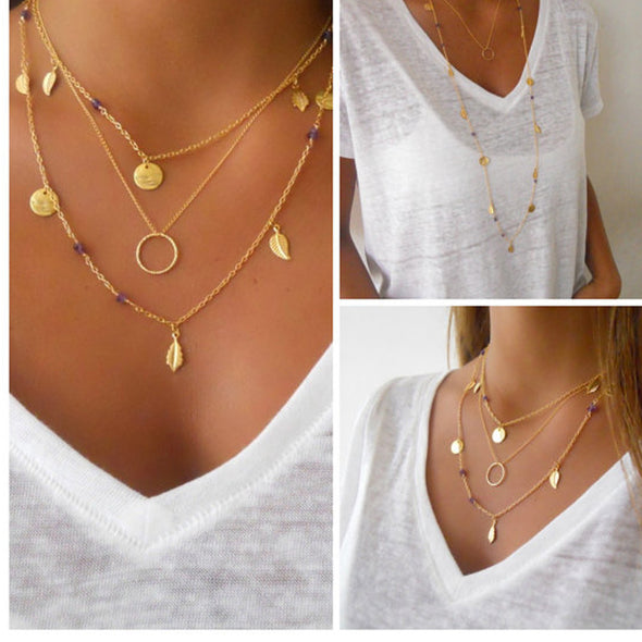 Leaf tassel pendant choker necklace - Fashionmoxy