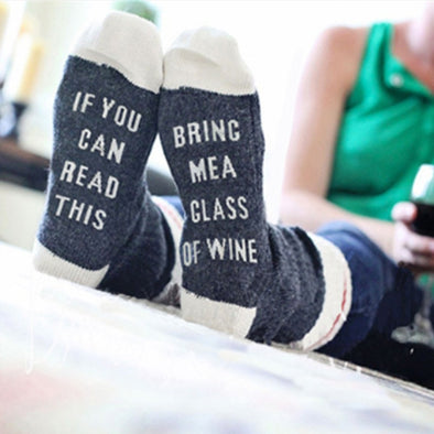 Letter Pattern Custom Wine Socks - Fashionmoxy