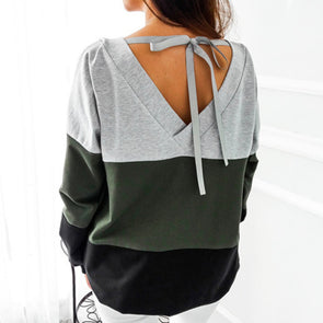 Lace Up Bandage Long Sleeve Sweatshirt - Fashionmoxy