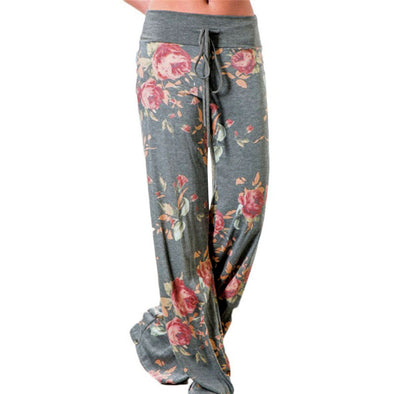 Loose Straight Flower Print Wide Leg Pants - Fashionmoxy