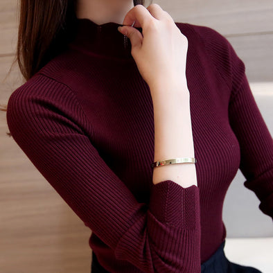 Ruffled Sleeve Turtleneck Solid Sweaters - Fashionmoxy