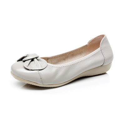 Round Toe Genuine Leather Flats Shoes - Fashionmoxy