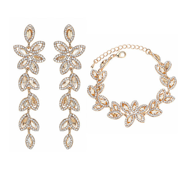 Leaf Flower Pattern Crystal Jewelry Sets - Fashionmoxy