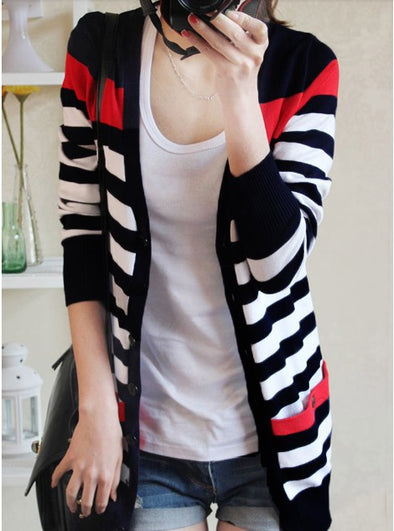 Long Stripe Knitted Cardigan - Fashionmoxy