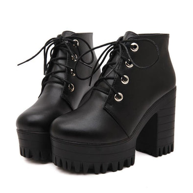 Lacing Platform Ankle High Heels Boots - Fashionmoxy