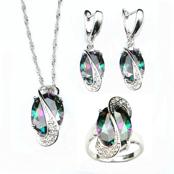 Rainbow Cubic Zirconia 925 Sterling Silver Jewelry Sets - Fashionmoxy