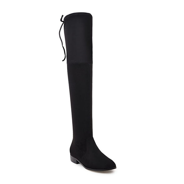 Square Low Heel Women Over The Knee Boots - Fashionmoxy