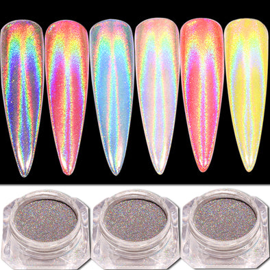 Peacock Holographic Mirror Nail Glitter Powder - Fashionmoxy