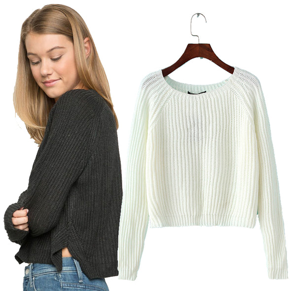 Short basic solid slim casual sexy sweaters - Fashionmoxy