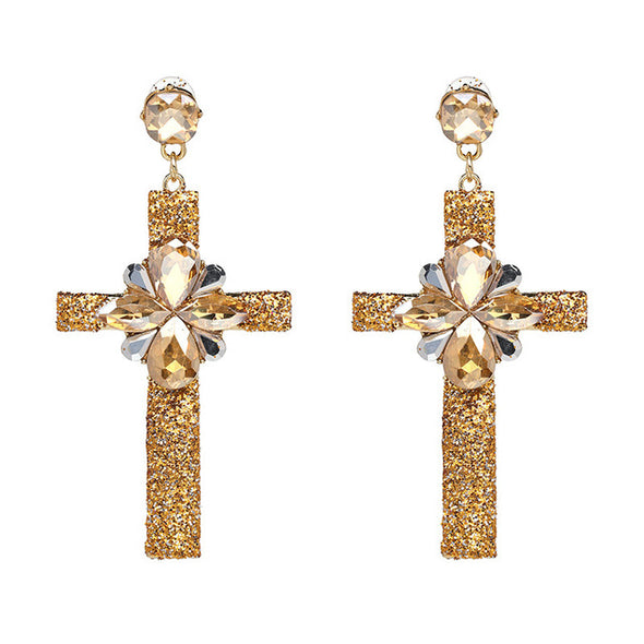 Vintage Boho Crystal Cross Drop Earrings - Fashionmoxy