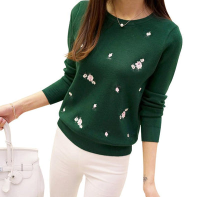 Embroidery Floral Long Sleeve Cashmere Pullover - Fashionmoxy