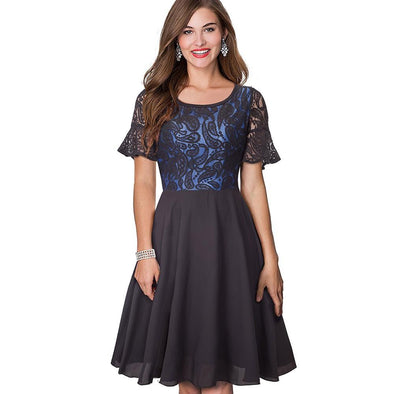 Flutter Sleeve Lace Patchwork A-Line Dress - Fashionmoxy