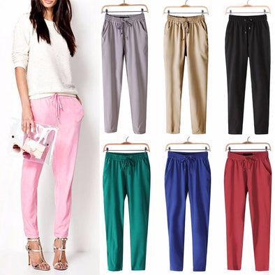 Leisure Strappy Elastic Waist Pants - Fashionmoxy