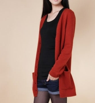 Flat Knitted Cashmere Loose Long Cardigan - Fashionmoxy
