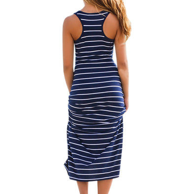 Striped Boho Long Sleeveless Maxi Dress - Fashionmoxy