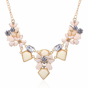 Cute Charm Gem Flower Choker Necklaces - Fashionmoxy