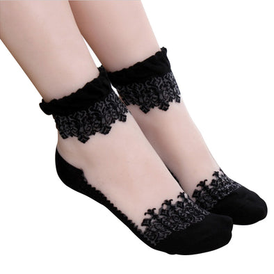 Transparent Crystal Silk Lace Sock - Fashionmoxy