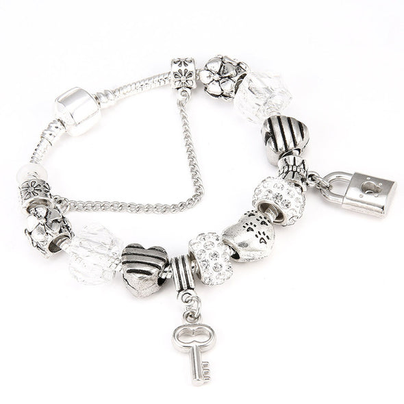 Love Heart Key and Lock Pandora Bracelet - Fashionmoxy