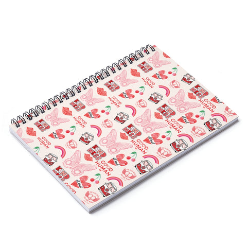 Earth 2 Jane ' Red VSCO Sticker' Spiral Notebook - Ruled Line