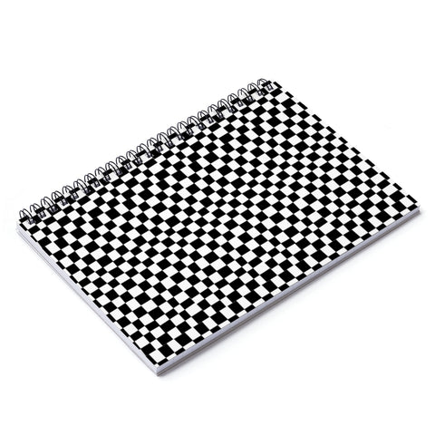 Earth 2 Jane 'Black Checkers' Spiral Notebook - Ruled Line