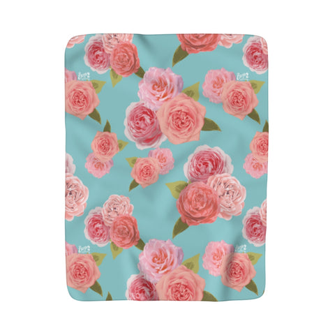 Earth 2 Jane 'Rose Print' Sherpa Fleece Blanket