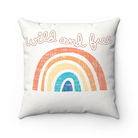 Earth 2 Jane 'Wild & Free'  Rainbow Square Pillow