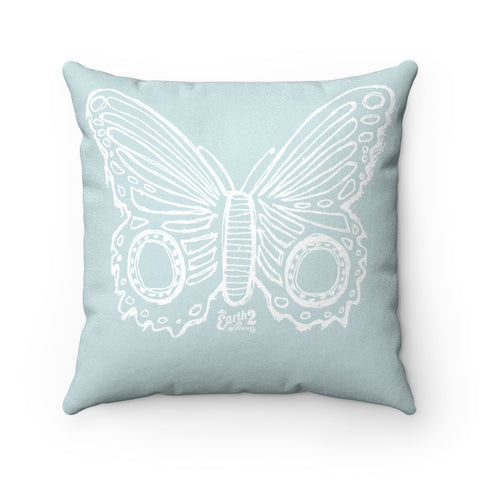Earth 2 Jane 'Butterfly'  Baby Blue Square Pillow