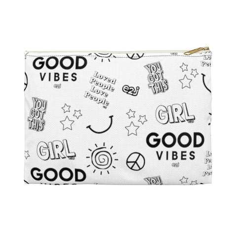 Earth 2 Jane 'Black And White Stickers' Accessory Pouch