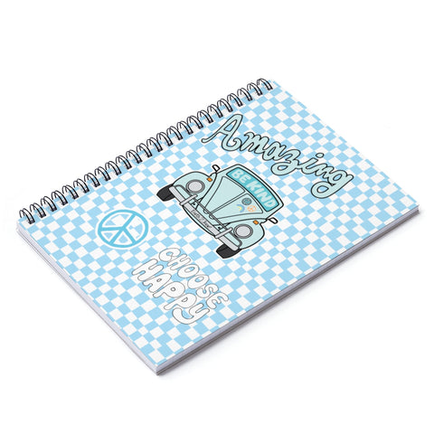 Earth 2 Jane 'Blue Checkers' Spiral Notebook - Ruled Line