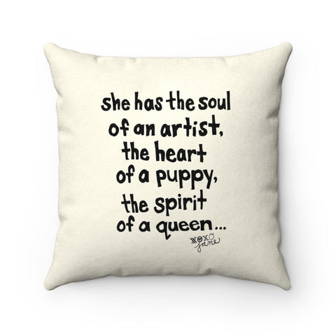 Earth 2 Jane 'Heart of a Puppy' Square Pillow