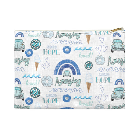Earth 2 Jane 'Blue VSCO Stickers' Accessory Pouch