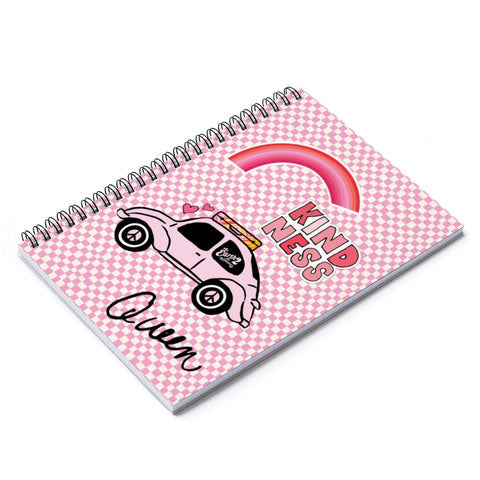 Earth 2 Jane 'Pink Checkers' Spiral Notebook - Ruled Line