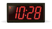 4 Digit PoE Clock, Red LED, Black Aluminum Case