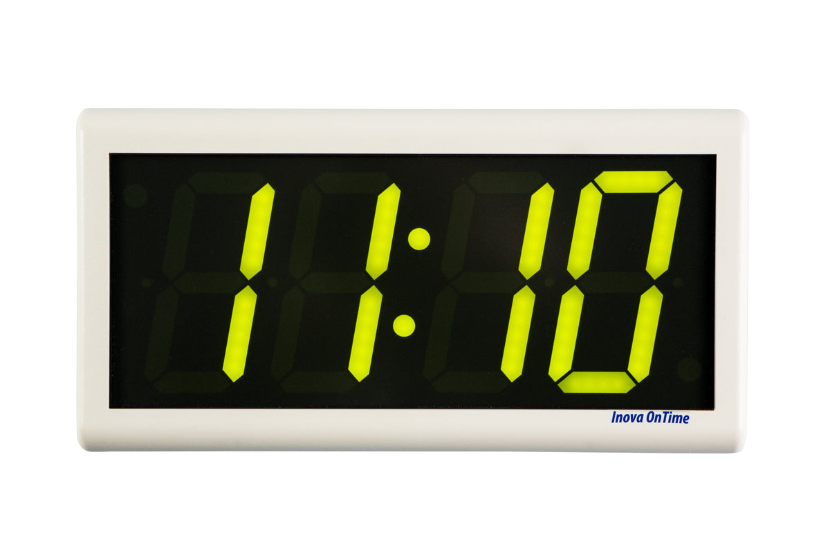 ONT4OW-P-G:  4 Digit PoE Clock, Green LED, Off-White Color ABS Plastic Case