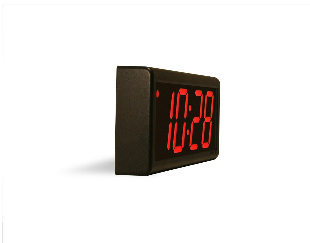 ONT4BK-P:  4 Digit PoE Clock, Red LED, Black ABS Plastic Case