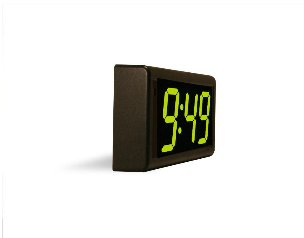 4 Digit PoE Clock, Green LED, Black Powder Coated Aluminum Case