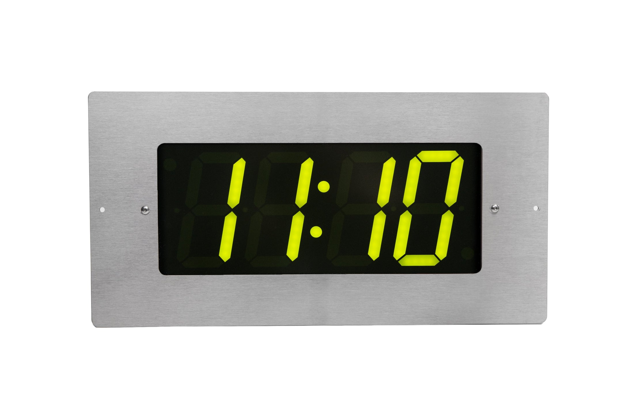 ONT4BKFMS-G:  4 Digit PoE Clock, Green LED, Stainless Steel Flush Mount Faceplate