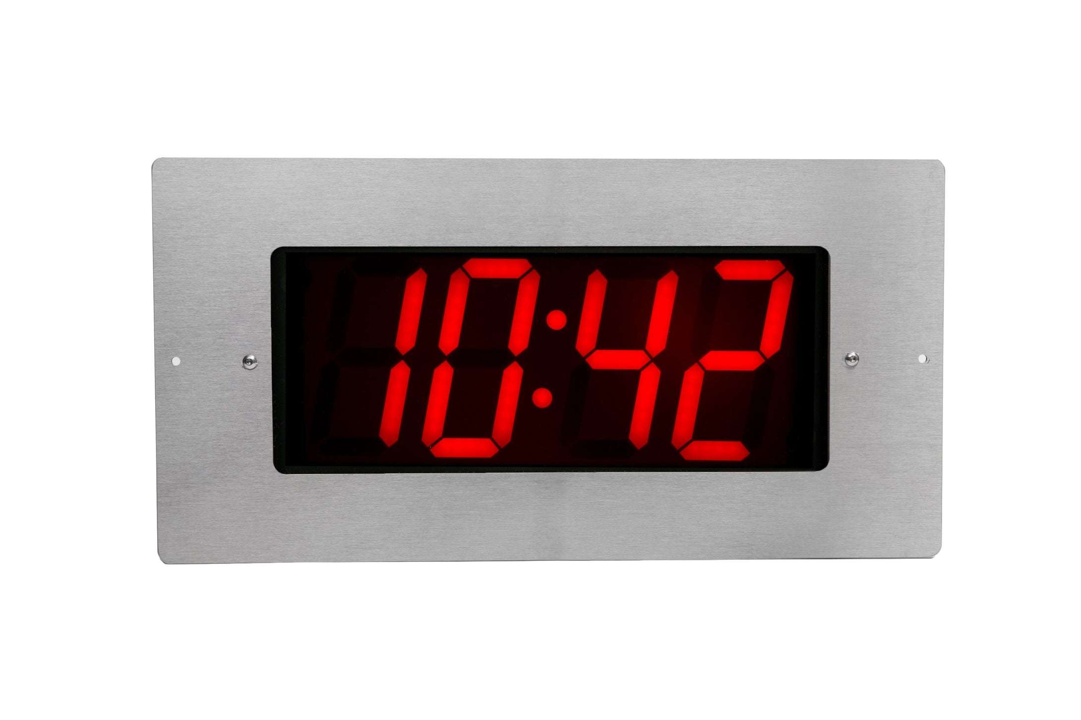 4 Digit PoE Clock, Red LED, Flush Mounted with Stainless Steel Faceplate