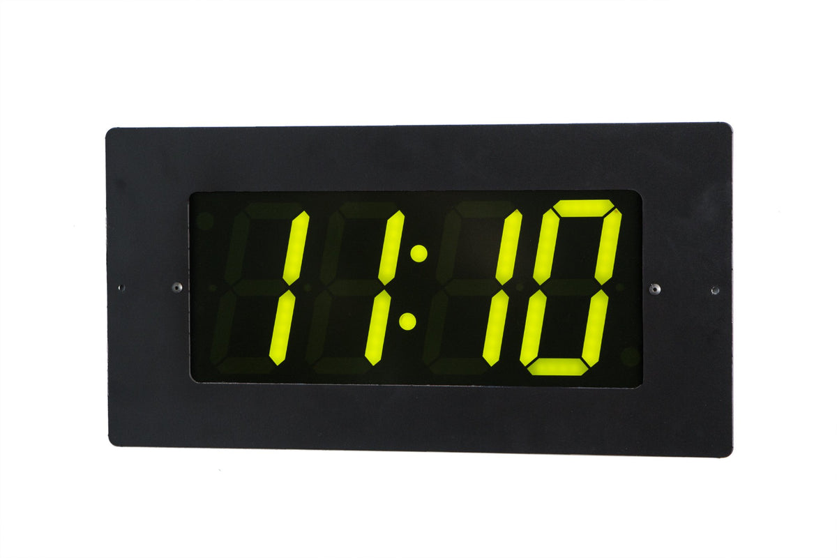 ONT4BKFM-G:  4 Digit PoE Clock, Green LED, Black Aluminum Flush Mount Faceplate