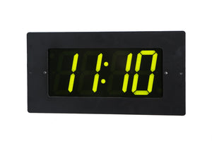 4 Digit PoE Clock, Green LED, Black Aluminum Flush Mount Faceplate