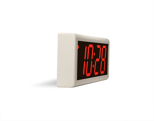 ONT4OW-P:  4 Digit PoE Clock, Red LED, Off-White ABS Plastic Case