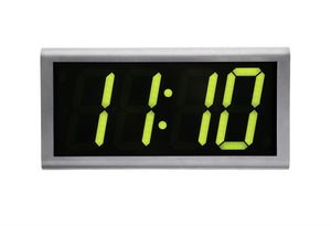 4 Digit PoE Clock, Green LED, Stainless Steel Case