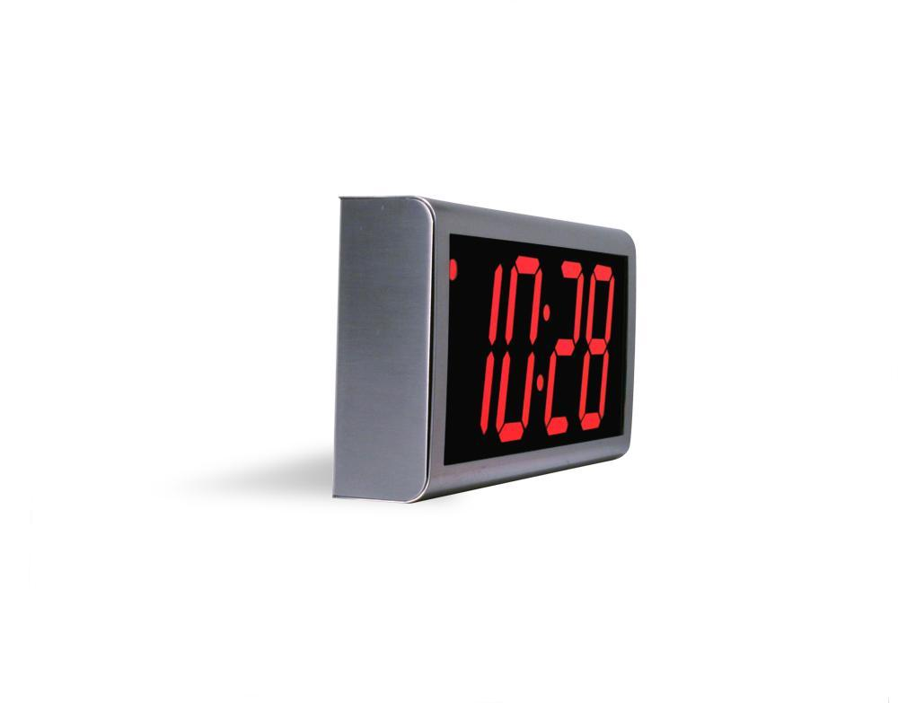 4 Digit PoE Clock, Red LED, Stainless Steel Case