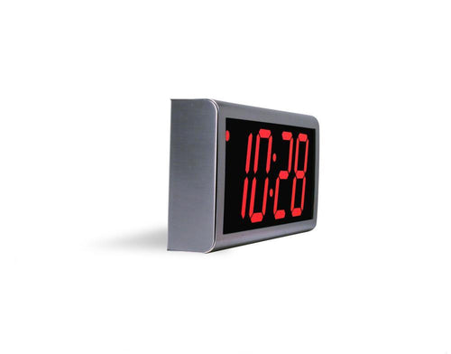 ONT4SS:  4 Digit PoE Clock, Red LED, 304 Stainless Steel Case
