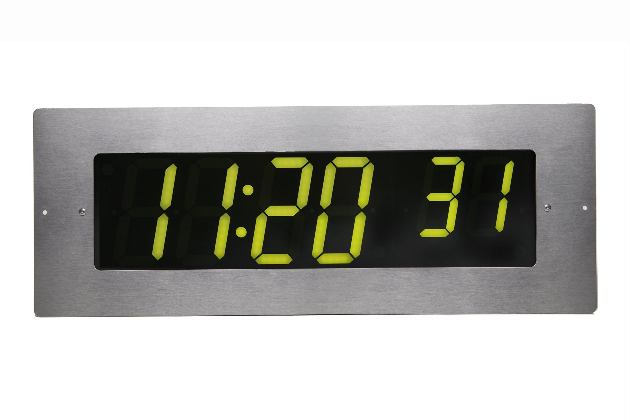 6 Digit PoE Clock, Green LED, Stainless Steel Flush Mount Faceplate