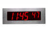 ONT6BKFMS:  6 Digit PoE Clock, Red LED, Flush Mounted with 304 Stainless Steel Faceplate