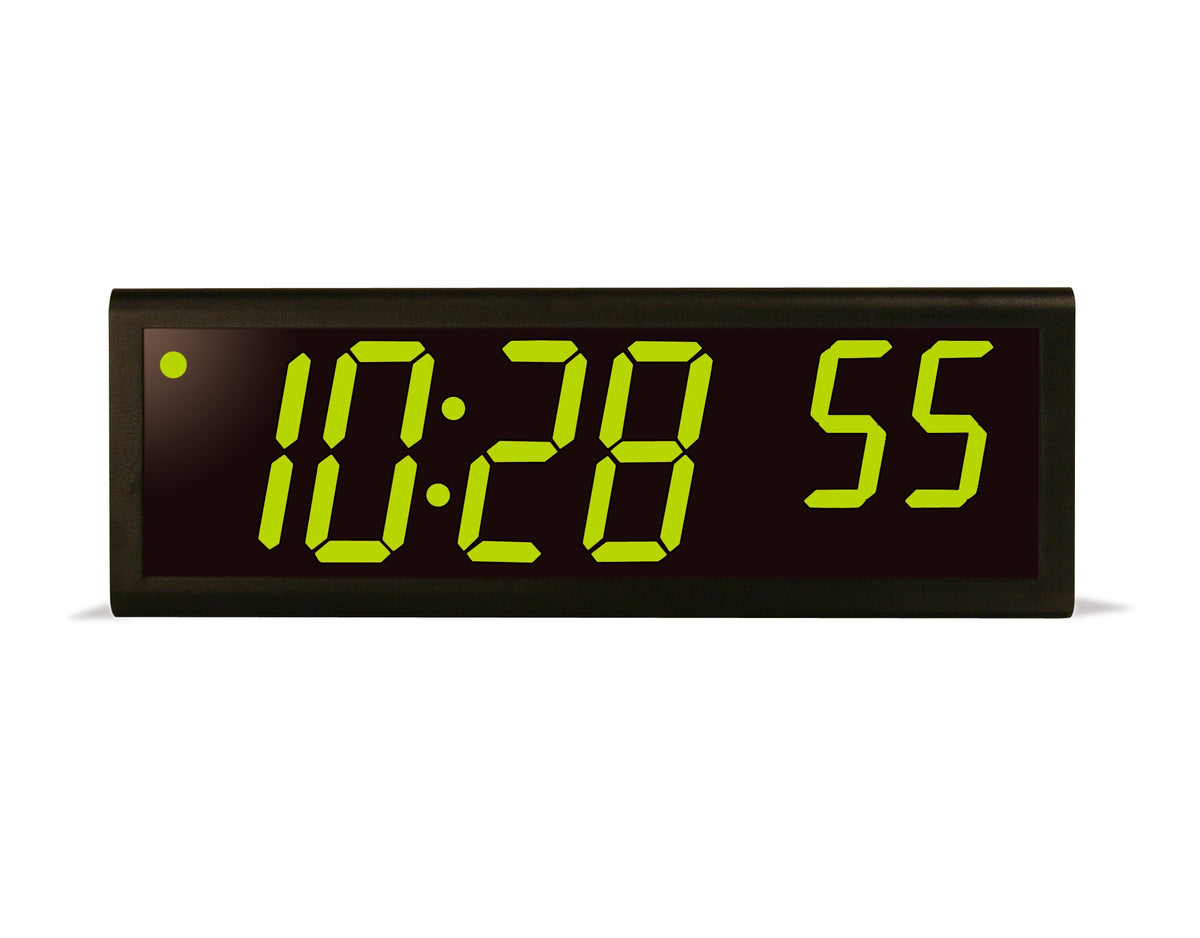 ONT6BK-G:  6 Digit PoE Clock, Green LED, Black Aluminum Case