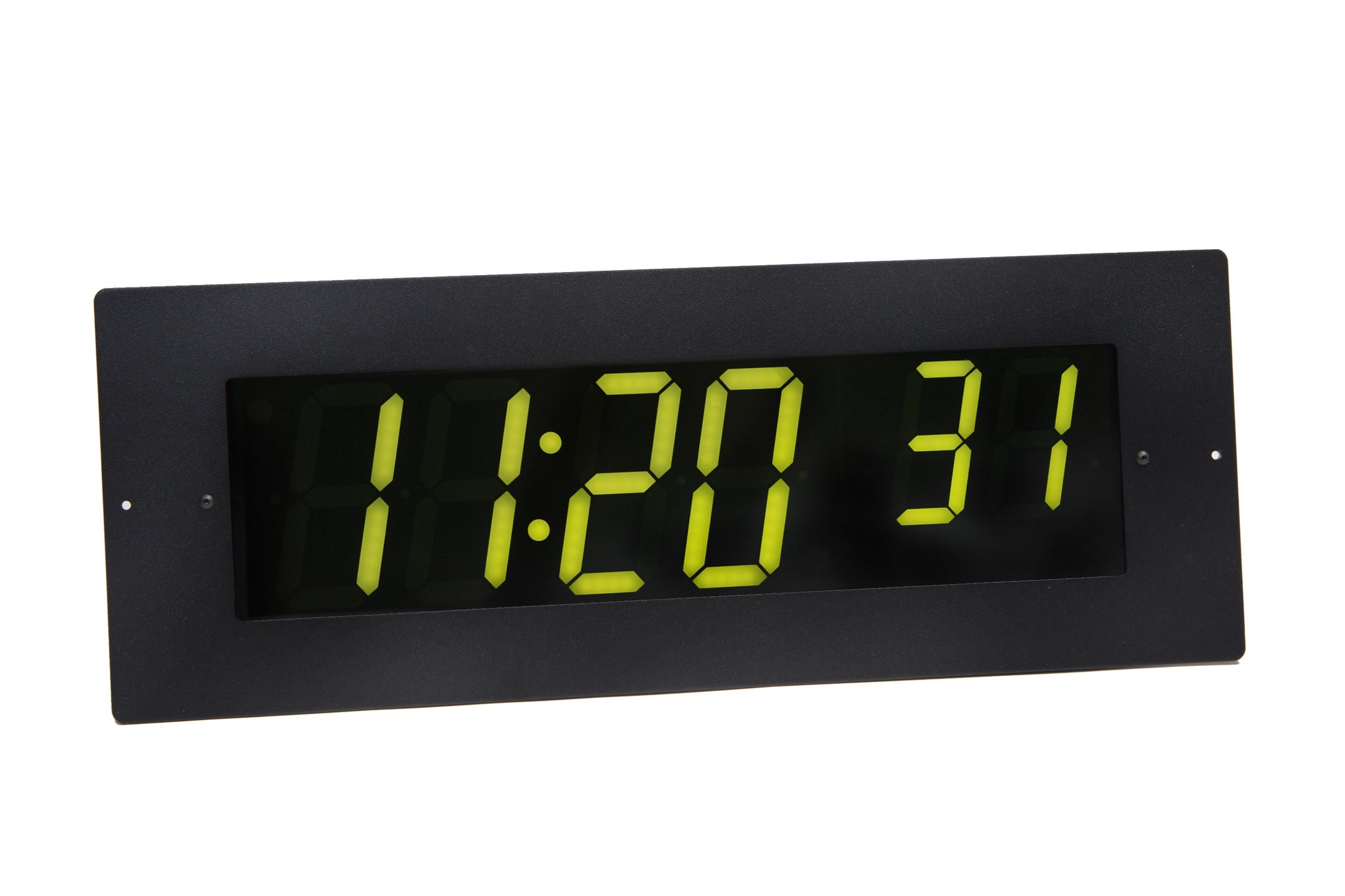 6 Digit PoE Clock, Green LED, Black Aluminum Flush Mount Faceplate